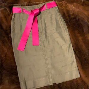 Army Green DVF Pencil Skirt with Pink Belt